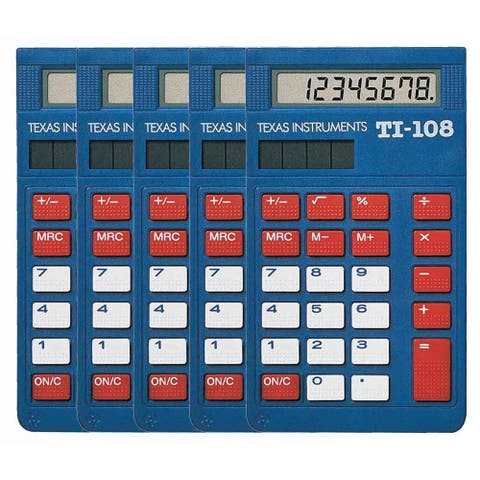 Texas Instruments 108/TKT/1L1/C (5-Pack) Texas Instruments TI-108 Simple Calculator - 8 Digit(s) - LCD