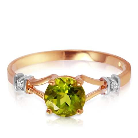 14K Solid Gold 0.87 Carat Diamond Ring w/ Round Green Peridot Gemstone