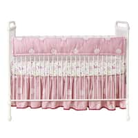 Lambs & Ivy Woodland Couture Pink/White Medallion Baby Crib Rail Cover