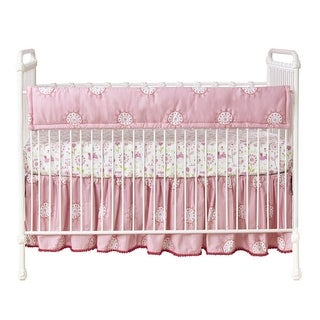 Lambs & Ivy Woodland Couture Crib Rail Cover - Pink, White, Modern, Floral, Girl