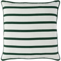 """18"""" Forest Green and Snow White Candy Cane Strips Christmas Throw Pillow"""