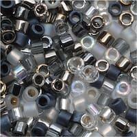 Miyuki Delica Seed Beads Mix Lot 11/0 Tuxedo Black White And Silver 7.2 Grams