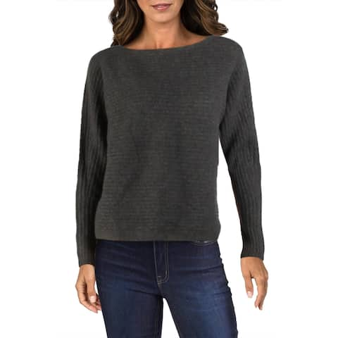 Vince Womens Pullover Sweater Ribbed Wool lB - Heather Pewter