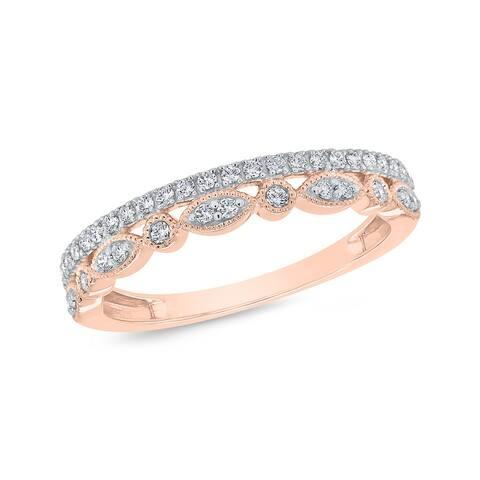 10K Rose Gold 1/4ct TDW Diamond Bezel-Set Milgrain Ring (I-J, I1)