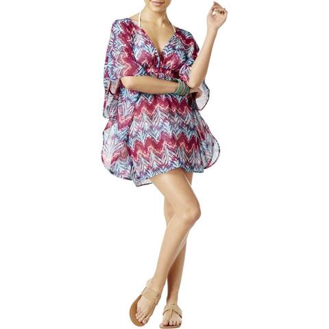 Miken Juonir's Chevron Print Cross Back Kimono Swim Cover-up, (Multi Medium) - Medium