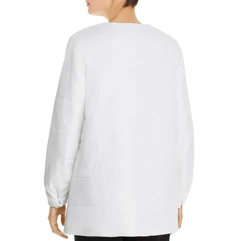 Eileen Fisher Womens Quilted Coat Quilted Midi - White