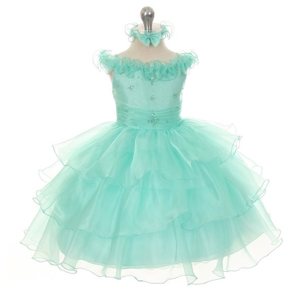 Rain Kids Baby Girls Mint Organza Off Shoulder Flower Girl Dress 6-24M