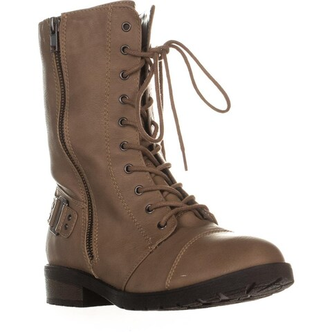 White Mountain Fiord Front Laced Side Zip Combat Boots, Light Taupe - 8 US
