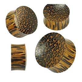 Organic Palm Wood Double Sided Convex/Concave Saddle Plug (Sold Individually)