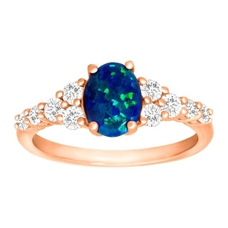 1 1/4 ct Created Blue Opal & White Sapphire Ring in 18K Rose Gold-Plated Sterling Silver