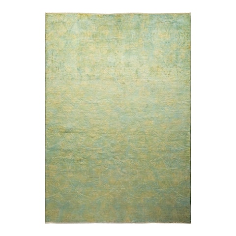 """Vibrance, One-of-a-Kind Hand-Knotted Area Rug - Green, 6' 1"""" x 8' 9"""" - 6' 1"""" x 8' 9"""""""