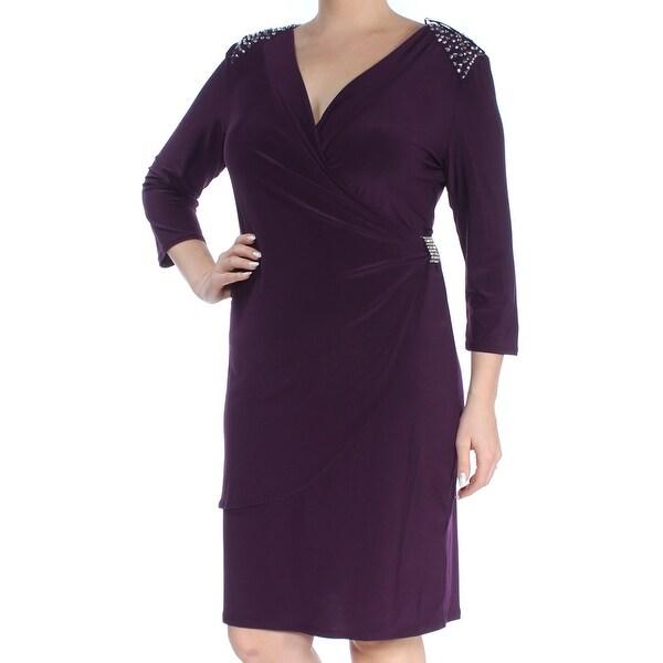 R&M RICHARDS Womens Purple Rhinestone Gathered Long Sleeve V Neck Above The Knee Sheath Dress Size: 14
