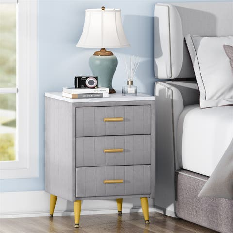 Nightstand with 3 Drawers,Bedside Table Sofa Side End Table