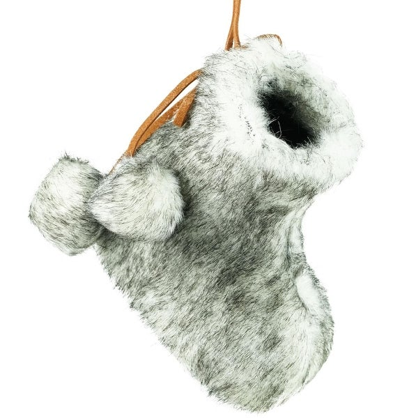 """3"""" Gray and White Faux Fur Bootie Christmas Ornament with Fuzzy Ball Laces"""