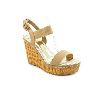 Charles By Charles David Tapia Women Open Toe Canvas Tan Wedge Sandal