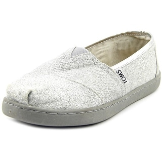 Toms bimini Youth Open Toe Canvas Silver Slides Sandal