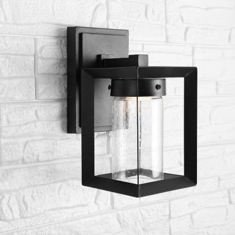 """Nate 6.75"""" Outdoor Bubble Glass Integrated Sconce, Black by JONATHAN Y"""
