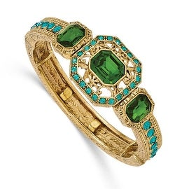 Goldtone Blue and Green Crystal Textured Stretch Bracelet - 7in