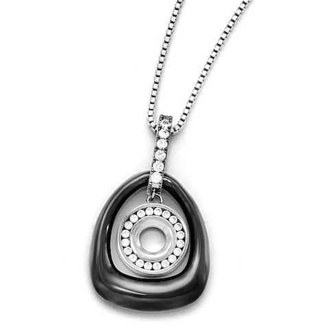 Chisel Polished Ceramic with CZ Titanium Pendant on Steel Necklace (2 mm) - 18 in