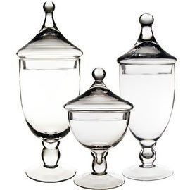 CYS® Apothecary Glass Jar Vase Candy Buffet with Lid, Set of 3