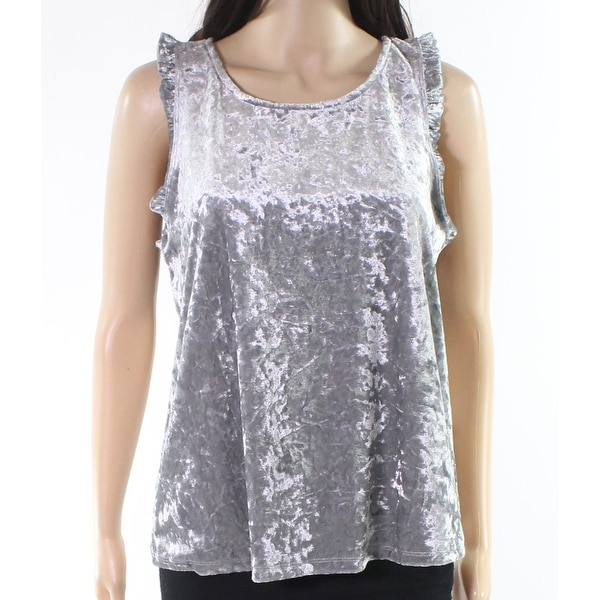 223fbc7f Shop Abound Silver Womens Size Large L Velvet Ruffled Scoop-Neck Blouse - Free  Shipping On Orders Over $45 - Overstock - 22129744