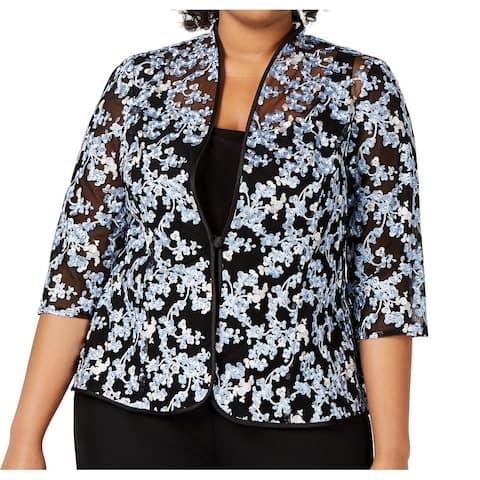 Alex Evenings Women's Jacket Blue Size 3X Plus Embroidered 2-Piece Set