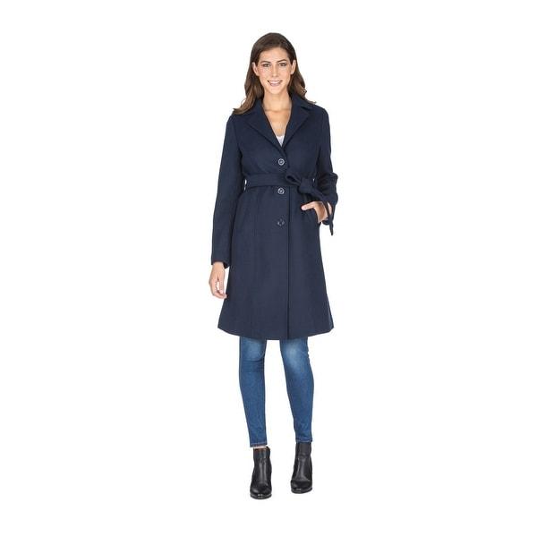 Haute Edition Women' Walker Wool Blend 3/4 Belted Long Jacket. Opens flyout.