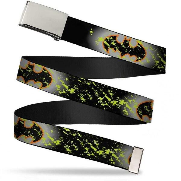 Blank Chrome Buckle Bat Signal 1 Glow Weathered Black Yellow Orange Web Belt