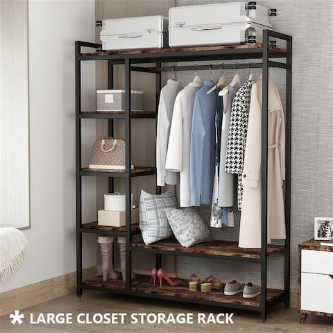 6-shelf Metal and Wood Closet Organizer System with Hanging Bar