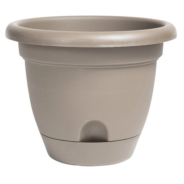 """Bloem Lucca Self Watering Planter w/ Saucer 14"""" Pebble Stone - 14. Opens flyout."""