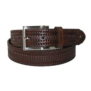 Nautica Men's Leather Hand Laced Braided Belt with Burnished Edges - Brown