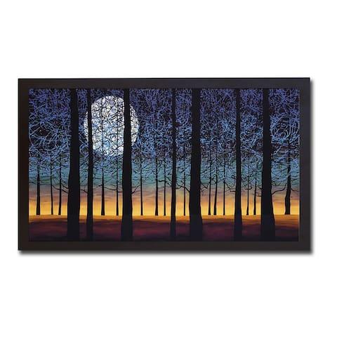 Full Blue Moon by Daniel Lager Black Floater-Framed Canvas Giclee Art (20 in x 38 in Framed Size)