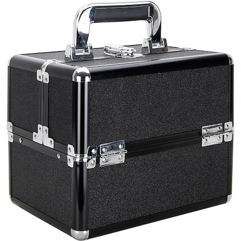 Ver Beauty Black Glitter 2-Tiers Extendable Trays Makeup Train Case with Black Aluminum Trimming