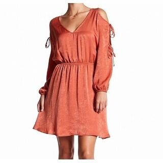 Vanity Room Womens Medium Satin Tie-Sleeve Sheath Dress