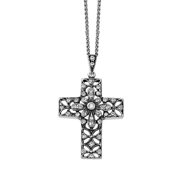 Van Kempen Victorian Cross Pendant with Swarovski elements Crystal in Sterling Silver