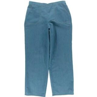 Alfred Dunner Womens Denim Flat Front Capri Pants - 14
