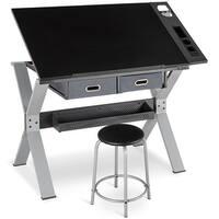Gymax Adjustable Drafting Table Drawing Desk Tiltable Tabletop w/Stool & Drawer Black