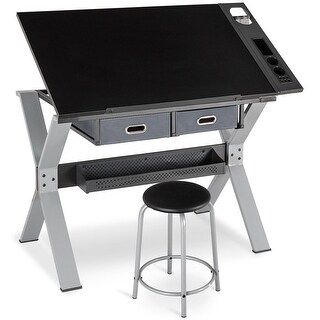 Gymax Adjustable Drafting Table Drawing Desk Tiltable Tabletop w/Stool & Drawer Black