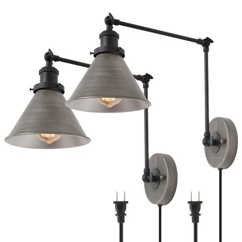 """Modern 2-lights Plug-in Adjustable Wall Lamp Swing Arm Ancient Silver and Black Wall Sconce - L19.7"""" xW7.53 """"xH9.1"""""""