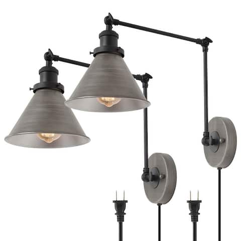 Modern Set of 2 Plug-in Adjustable Ancient Silver Swing Arm Wall Sconce