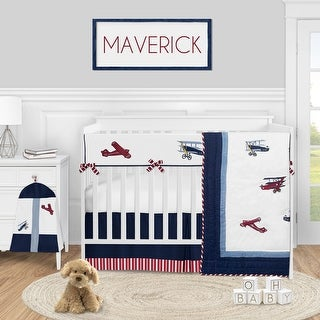 Red White and Blue Airplane Collection Boy 5-piece Nursery Crib Bedding Set - Vintage Aviator