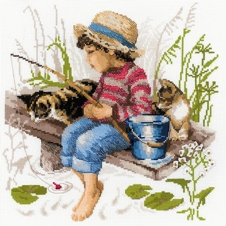 """Let's Go Fishing Counted Cross Stitch Kit-11.75""""X11.75"""" 14 Count"""