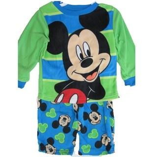 Disney Little Boys Green Blue Mickey Mouse Printed 2 Pc Pajama Set 2T-4T