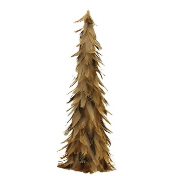 "19"" Light Brown Glittered Feather Cone Tree Christmas Decoration"