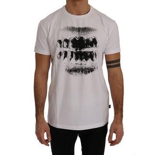 Moschino White Motive Cotton Stretch T-Shirt