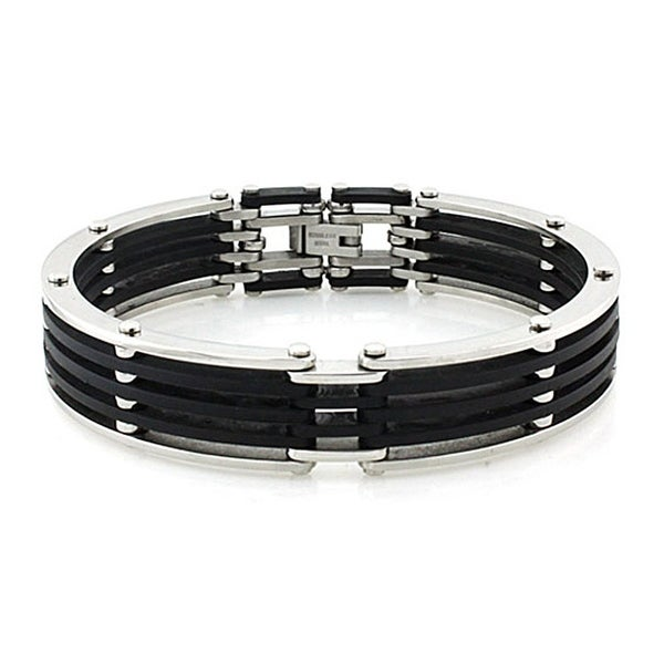 Men's Stainless Steel and Black Rubber Cuff Bracelet - 8.5 Inches