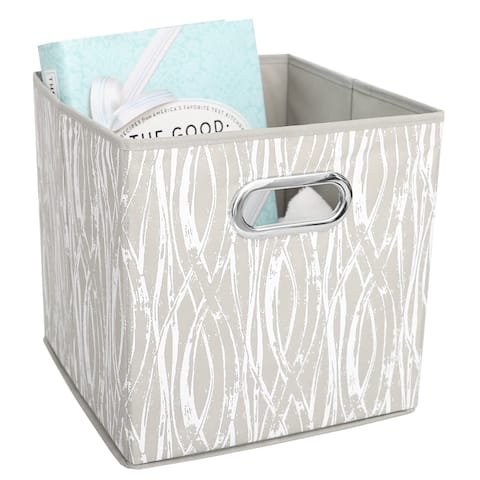 Home Basics Weave Collapsible Storage Bin with Grommet Handle, Taupe