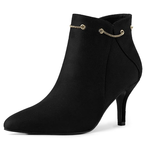 Women's Pointed Toe Side Zip Stiletto Heel Ankle Booties