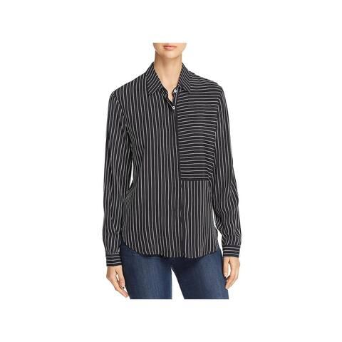 Three Dots Womens Blouse Striped Crepe