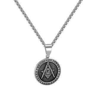Freemason Mason Pendant Round Coin Design Stainless Steel Iced Out Free Necklace